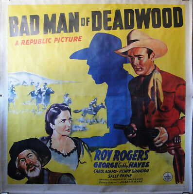 Vintage 6sht Movie Poster BAD MAN OF DEADWOOD on Linen Western Roy Rogers 1941