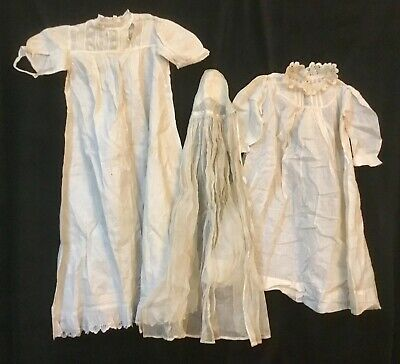 Two Antique Baby Christening Gowns With Veil In White Need A Good Home