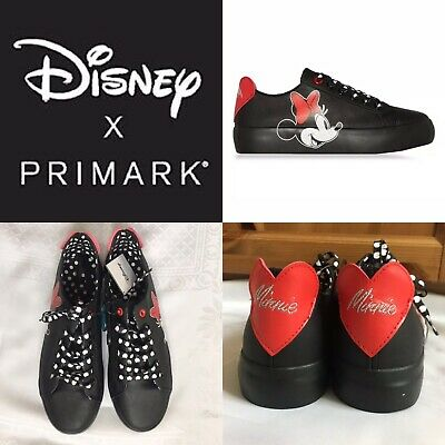 Disney Primark Black Minnie Mouse 90th Anniversary Trainers Sneakers Plimsolls 6