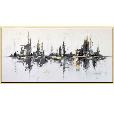 YA692 Large Modern Simple Hand-painted oil painting Abstract city UNFRAMED 48""