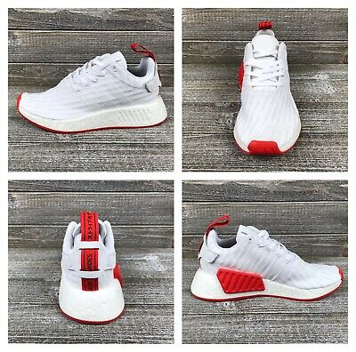 aa2bd7e16 NEW ADIDAS NMD R2 PK Primeknit Mens Sz 10 White Core Red Shoes Boost ...