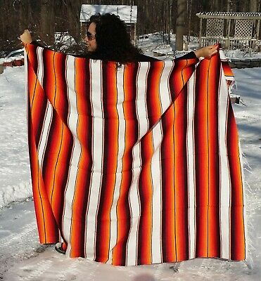 """Mexican Serape Sarape Fringed Blanket Bedspread 84"""" x 60"""" Fire & Ice Red Yellow"""