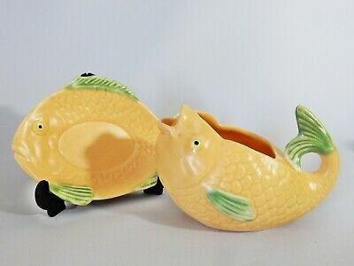 Vintage Retro Art Deco Shorter & Son Fishware Fish Gravy Boat & Plate Saucer Set