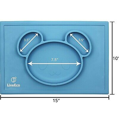 One Piece Silicone Place Mat Child's Food Plate 3 Compartment, Large Size! 15x10