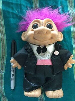 Troll Doll Vintage In Formal Coat Tails, Original Outfit, Removable, Unrestored