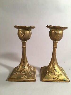 Vintage Pair of Art Nouveau Gilded Metal Candle Holders