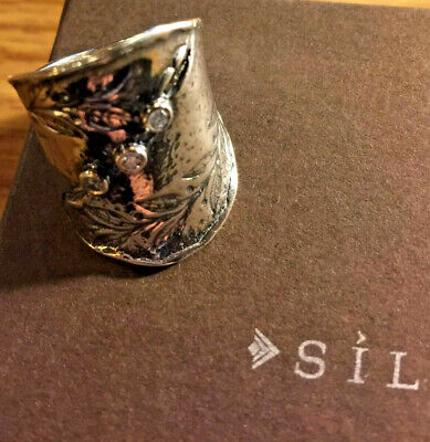 SILPADA R3136 RING Nature's Majesty 925 Israel Signed Wide Band Size 7 Leaf CZ