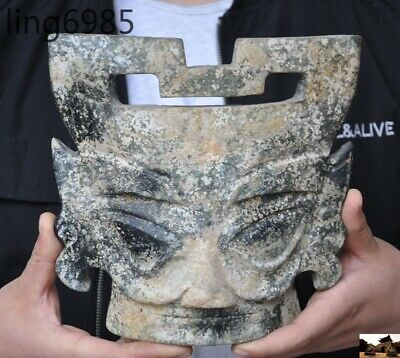"8""China Hongshan culture old jade stone carved ancient people face statue mask"