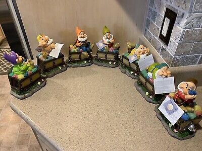 Disney Snow White Seven Dwarfs Solar Garden Figurines Mine Train Set of 7, NWT