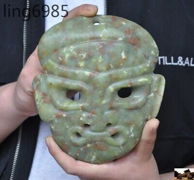 Fine China Hongshan culture old jade hand carved ancient people face mask statue