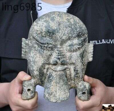 "9""China Hongshan culture old jade stone carved ancient people face mask statue"