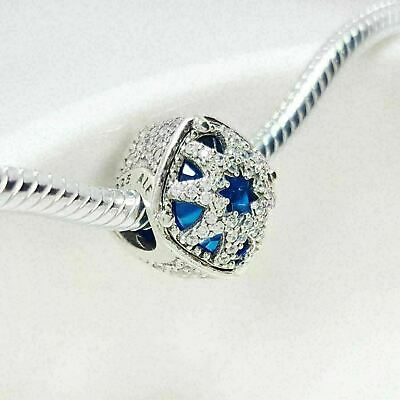 Authentic Pandora Charms 925 ALE Sterling Silver Blue Crystal Cubic Zircon Bead