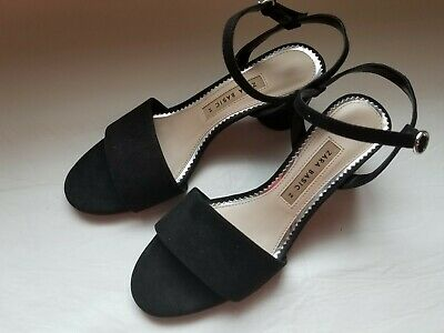 3bd43bccb81 Zara Basic Collection Black Leather Suede Heels Sandals Size 36 US 6 EUC