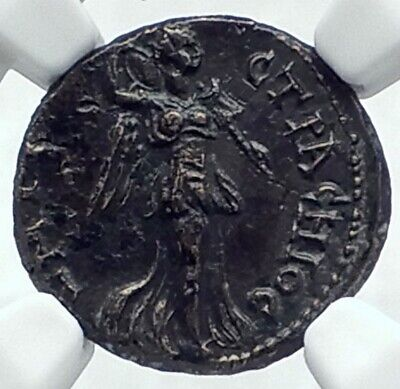SMYRNA in IONIA Authentic Ancient 90AD RARE Greek Coin NIKE NEMESIS NGC i77626