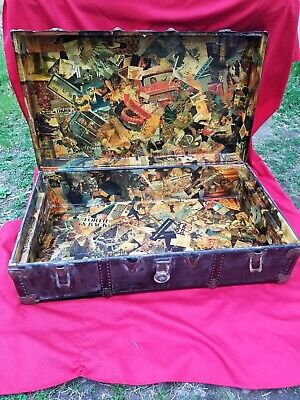 Antique/Vtg American Steamer Trunk Redone Woodstock 60/70s Magazine Clip On rare