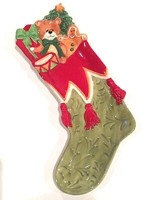 Porcelain Fitz & Floyd 2008 Christmas Stocking Gingerbread Snack Tray
