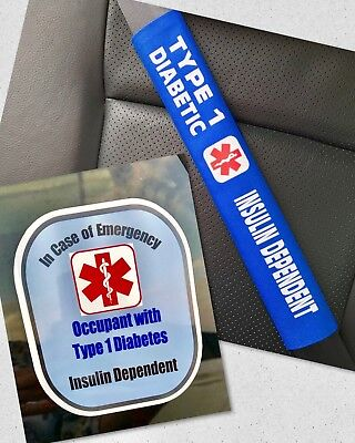 Type 1 Diabetic Seat Belt Cover and Window Decal Set Royal Blue Safety Set