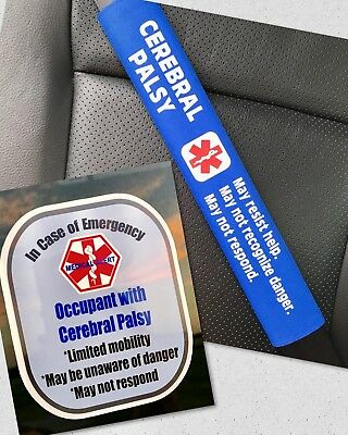 Cerebral Palsy Seat Belt Cover and Window Decal Set Royal Blue