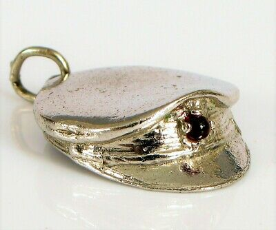 Beautiful Vtg Sterling Silver Charm Bracelet Police / Military Hat Red Cabochon