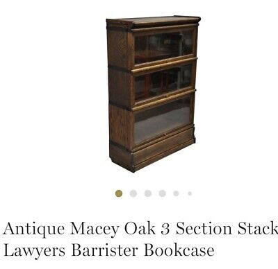 Macey Antique Oak 3 Section Stackable Barista Lawyers Bookcase