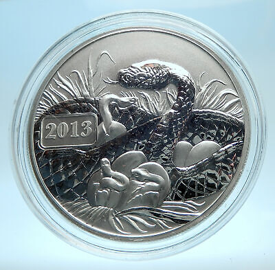 2013 TOKELAU ISLANDS Genuine Proof Silver $5 Coin w SERPENT SNAMKE MOTHER i77565