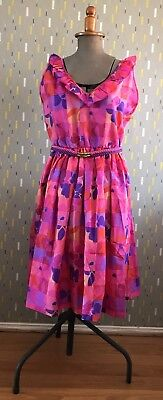 Vintage 1980s' Dress – Purple/Pink/Red – Excellent Condition