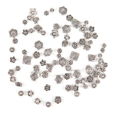 80Pcs Lot Mixed Tibet Silver Flower Spacer Beads For Bracelet Jewelry DIY yu