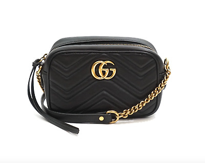 eefd20ef2811 GUCCI BLACK QUILTED Leather Studded Marmont Medium Top Handle Tote ...