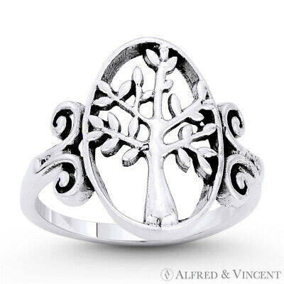 Tree-of-Life Knowledge Etz Chaim Religious Solid .925 Sterling Silver Charm Ring