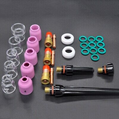 31Pcs TIG Welding Torch 6#~12# Pyrex Glass Cup Kit Fit For WP-17/18/26 Torch AU