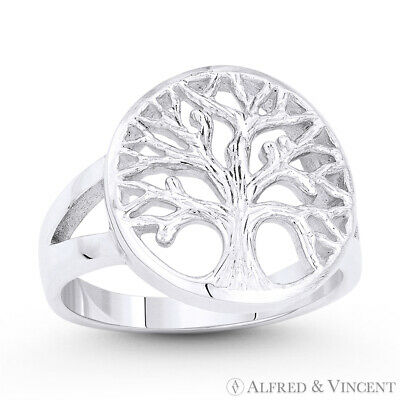 Tree-of-Life Knowledge Etz Chaim Solid .925 Sterling Silver Religious Charm Ring