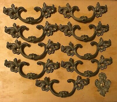 9 Stunning Vintage French Provincial Brass Drawer Handles & Key Hole 3.25 Center