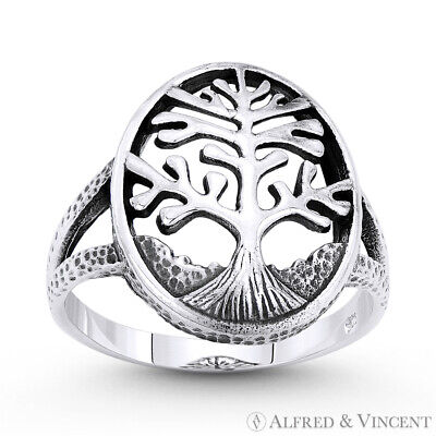 Tree-of-Life Knowledge Etz Chaim Rustic 925 Sterling Silver Religious Charm Ring
