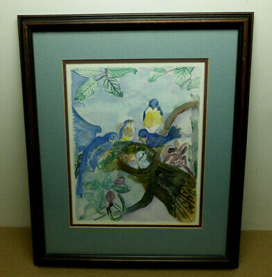 Framed Bluebirds in Nest Watercolor Unsigned Matted Original Art Painting