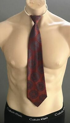 AUSTICO Mens Vintage  Rust & Blue Circle Print Pre-tied Elasticised Neck Tie