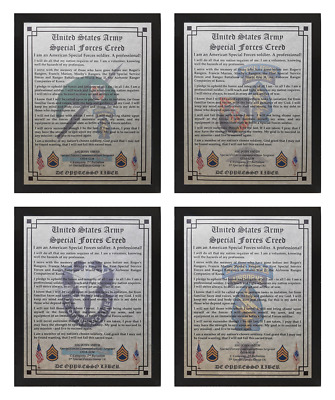 US Army Special Forces Green Beret Creed Framed NICE!!