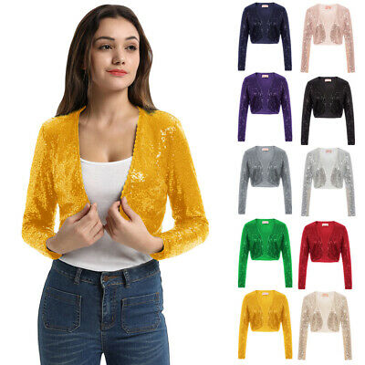 sneakers for cheap 0b5b5 e5731 DONNA PAILLETTES MAGLIA Brillantini Glitter Cardigan Bolero Coprispalle  Giacca