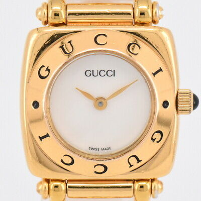 3396bbe27c7 Auth Gucci 6400L Gold Plated White shell Dial Quartz Women s Watch M 75584