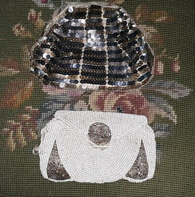 2 Antique Vintage Purses Glass Beaded / Beaded w Sequins for Parts Repair