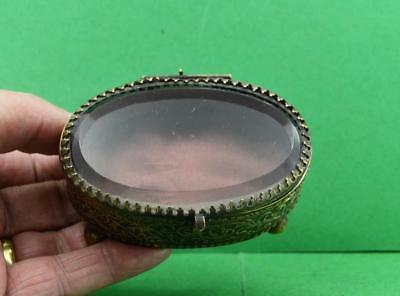 Antique Victorian Bevelled Glass oval French brass Casket trinket Box as found