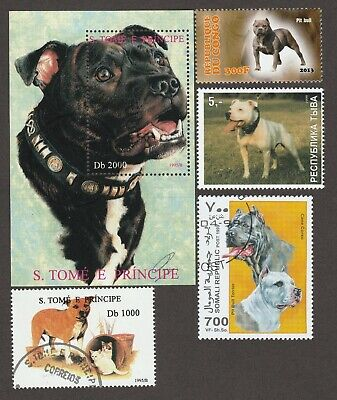 PIT BULL TERRIER ** International Dog Postage Stamp ** Great Pitbull Gift Idea**