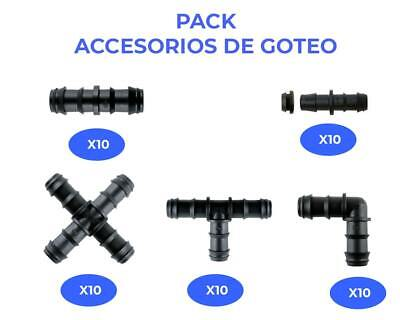 Riegopro Pack accesorios de goteo negro 16mm