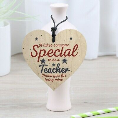 Special Teacher Hanging Wooden Love Heart Plaque Gift