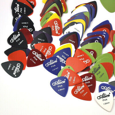 100pcs 0.58-1.5mm Alice Smooth ABS Guitar Picks Plectrums Acoustic Electric