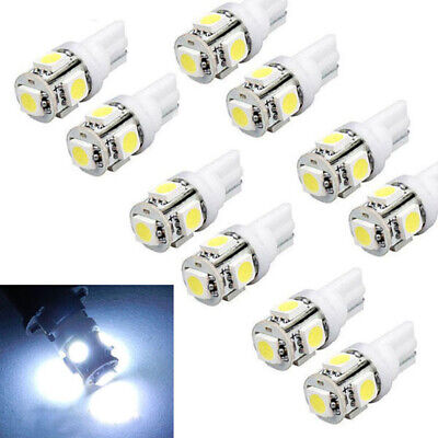 10X T10 5SMD 5050 LED Car Wedge Dashboard Instrument Panel Light Bulbs