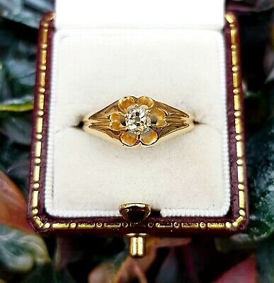 Antique Victorian 18ct Yellow Gold Mine Cut Diamond Solitaire Gypsy Ring Size N