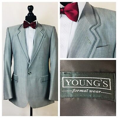 Vintage Youngs Mens Tuxedo Dinner Suit Jacket 36 Grey Wool Mohair Formal  X12A