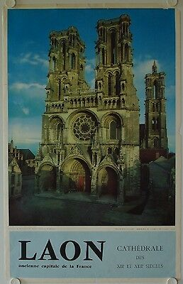 Affiche Tourisme CATHEDRALE LAON Ancienne Capitale France -  Ann. '60