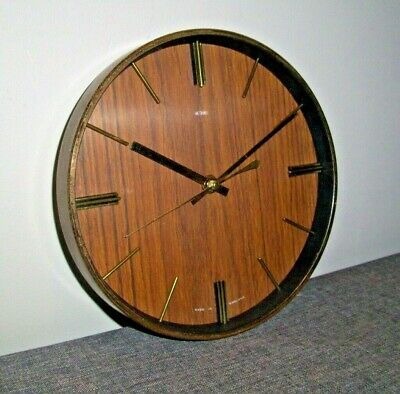 Vintage Circa 1960's Retro Metamec Wood Grained Face Wall Clock with Metallic