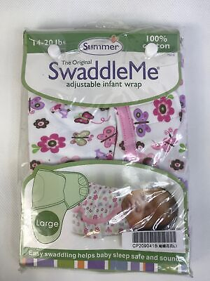 Summer Swaddle Me Adjustable Infant Baby Wrap 100% Cotton Large 14-20 lbs.